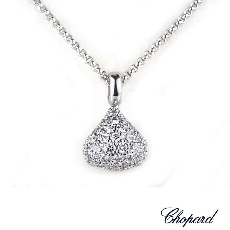 Chopard 18k White Gold Diamond Pushkin Pendant 79/3383